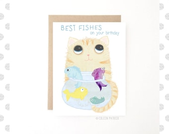 Cat Birthday Card - Best Fishes - Funny Card - Fish Birthday - Birthday Fishes - Recycled Paper - Blank Inside