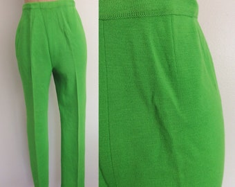 1970's Lime Green Double Knit Polyester Pants Size Small Medium by Maeberry Vintage