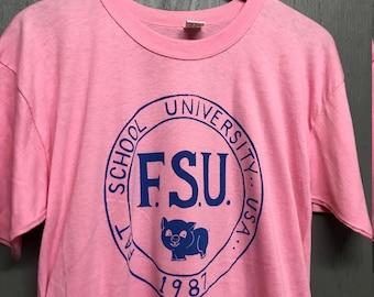 L nos thin vintage 80s 1987 Fat School University t shirt * pig