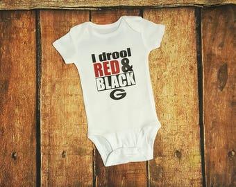 I Drool Red & Black Georgia Onesie