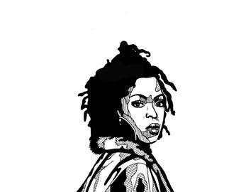 Print, card, illustration - Lauryn Hill - A6 size - black and white - made by hand