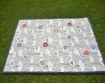 Handmade patchwork quilt - Picnic Blanket - Holiday & Birthday Gifts - Toddler Quilt  - Beach blanket - Bedding Throw - Picnic Rug - Playmat