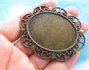 Heavy large 10pc 57x47mm antiqued Bronze cabochon/cameo oval pendants blanks(fit 40x30mm cabochons)