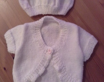 Hand knitted baby cardigan 0-3mnths with matching hat
