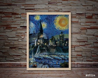 Harry Potter Van Gogh Starry Night Hogwarts Castle Print, Starry Night Hogwarts Castle Art, Hogwarts Castle Print, Harry Potter  #HP004