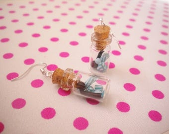 Blue candy jar earrings