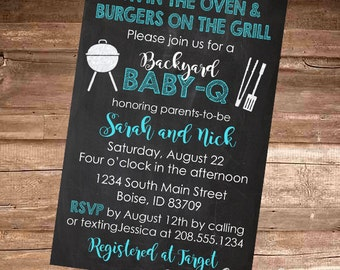 CHALKBOARD BABY Q - Baby Boy/Blue/Coed BBQ - Baby Shower Invitation - Choose a 4x6 or 5x7 Digital File