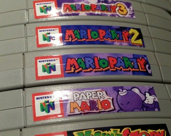 Nintendo N64 cartridge spine top end labels - all U.S. games free U.S. shipping