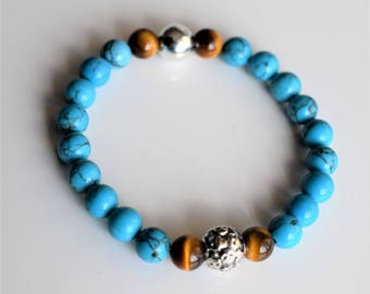 Men's Turquoise Magnesit & Tigers Eye Bracelet