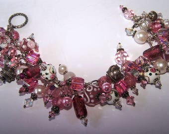 "8"" Plus Size Sterling Silver Pink Charm Bracelet 46 Crytsal,Lampwork,Glass,Pearl"