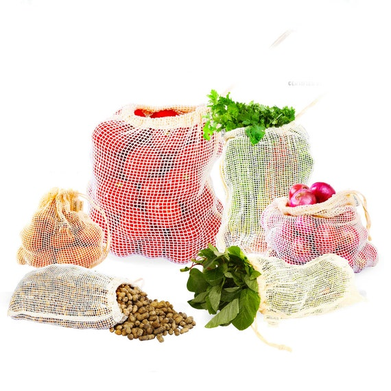 Best Reusable Produce Bags For Grocery & Storage For Fresh' Organic Cotton Mesh Bags With Drawstring' Tare Weight' Zero Waste' Washable by Etsy