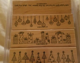 Stampin' Up! Crazy 4 Christmas Used Set of 4 Mounted Stamps