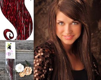 Hair Tinsel Extension, Cranberry Hair Tinsel, Glitter Hair Tinsel, Glitter Tinsel Extension, Festival Hair Tinsel