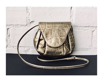 Vintage 1980s Gold Faux Croc Leather Crossbody Handbag