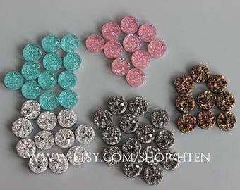 30pcs resin color  pink, blue, silver. Gray glitter gold  12mm Cabochons -12mm Resin Druzy Cabochon - DIY Resin 12mm Cabochons