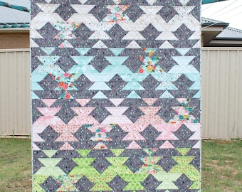 New Leaf - PDF Lap Quilt and Mini Quilt Pattern. Beginner friendly, Jelly Roll friendly