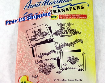 Aunt Martha's 3471 Hot Iron Transfers, Miscellaneous Linen Motifs, Uncut/Unused
