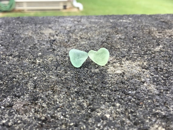RARE Lime Green Heart Shaped, Surf Tumbled Seaglass, Hypoallergenic Stainless Steel Stud Earrings