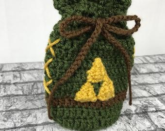 legend of zelda rupee bag, link drawstring bag, green, brown, gold, triforce bag, free Shipping geeky, crochet dice bag, handmade rupee bag,