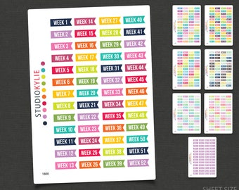 Weeks Of The Year Planner Stickers - Repositionable Matte Vinyl