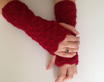 wine crochet arm warmers. womens crochet fingerless gloves. christmas gift for her.