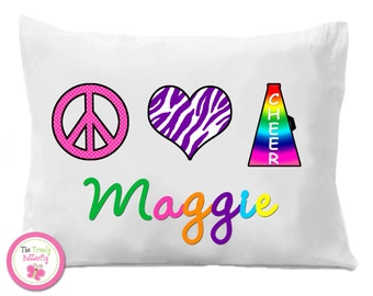 Cheerleading Pillow Case , Peace Love Cheer  Personalized Pillow Case