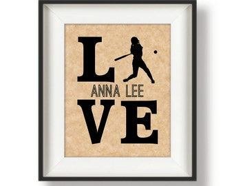 Personalized Softball Player Gift - Softball Art Print - Gifts for Softball Players - Softball Gift Ideas - Softball Decor - Team Gifts