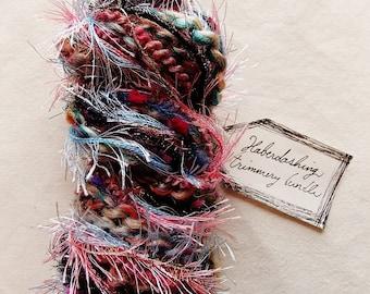 Bachelors Button Blossom pink blue berry fringe pom trim black tinsel Novelty Fiber Yarn Sampler Bundle