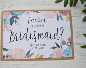 Bridesmaid Proposal   Will You Be My Bridesmaid Card   Personalised   Wedding Invitation   Bridesmaid Card   Wedding Stationery   Floral