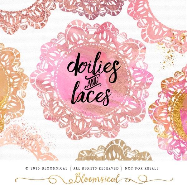 Feminine Logo Set In Gold Rose: Lace Doilies Circle Clip Art Watercolor Blush Gold Foil