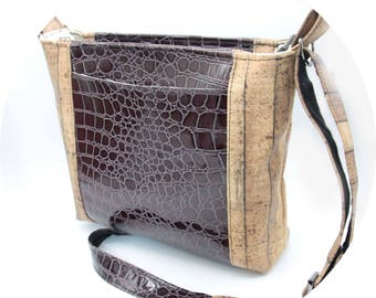 Crossbody Bag - Burgundy, Crocodile, Cork, Woodgrain, Faux Leather, Handmade, Handcrafted