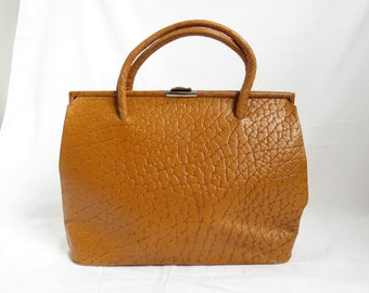 MYSTERY BRAND BRIEF Brown Textured Leather Handbag