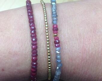 Ruby Bracelet / Silver Bracelet / Chakra Bracelet / Friendship Bracelet / Anniversary Gift / Scorpion Bracelet / Stackable Bracelet,