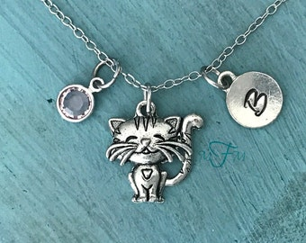 Cute Cat Charm Necklace, Personalized Necklace, Silver Pewter Cat Charm, Custom Necklace, Swarovski Crystal birthstone, monogram