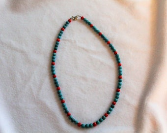 17 inch Turquoise and coral necklace