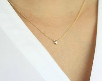 Diamond Solitaire Necklace, Diamond Necklace, Brilliant Cut 0.21 Ct. Natural Diamond Bezel Set Necklace, Minimalist Necklace