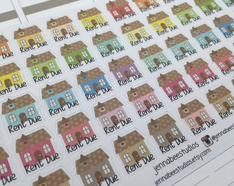 Rent Due / House Planner Stickers - Perfect for Erin Condren, Plum Paper, Happy Planner, Kikki K and More! 015