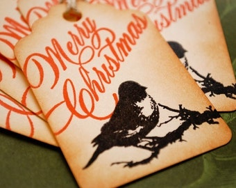 Black Bird and Merry Christmas Holiday Tags  Set of 6