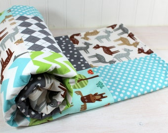 Woodland Baby Blanket, Baby Quilt, Baby Shower Gift, Nursery Decor, Patchwork Quilt, Baby Boy, Minky Baby Blanket, Gray, Aqua, Blue, Green