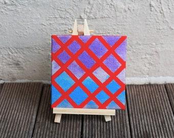 "Small Acrylic on Canvas, Abstract, 4x4"", Mini Art,  Gift, Desk Companion"