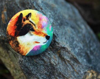 Fabric Covered Buttons Husky Dog/  for brooches, decoration, handmade, art, gift