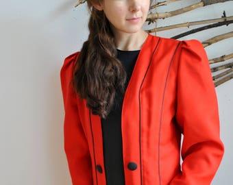 Striped Red black Blazer 90s 80s VIntage womens wmns Retro Suit Disco jacket 50s 70s style Shoulder Coat Spring Autumn Suit Hipster Boho