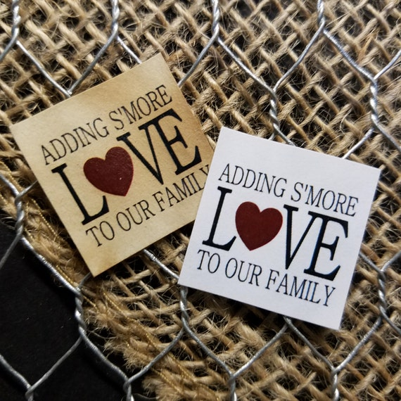 "Adding Smore Love 1"" square STICKER NOT-Personalized Wedding Engagement Shower Favor STICKER choose your amount"