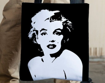 Marilyn Monroe Tote Bag, Adjustable Strap Tote, Medium Tote Bag, Durable Tote Bag, Black Tote Bag, Black and White, Monochrome Tote