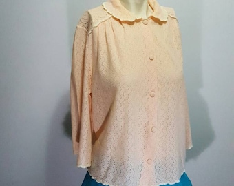 Great unique top sweater made in france by Freete pure vintage romantic shabby style knited antique pink sweater rare great new condision
