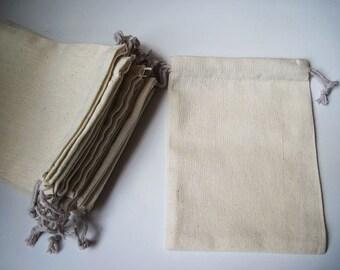 "10pcs - Plain Muslin cotton bag with drawstring - 4.8""(W) x 6.4""(L) *CB002*"