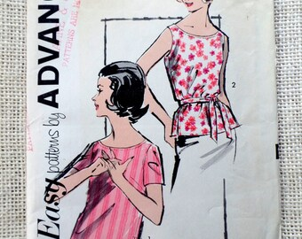 Vintage pattern Advance 2809 1960s Top blouse shirt Tee shell Tank sewing Jackie Kennedy First Lady Bust 34  top beatnik darts Uncut
