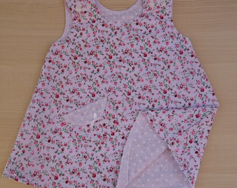 Pink and White Flower Reversible Girl's Dress. A Line.  1 to 2 yrs