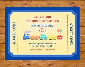 Train Ticket Invitation - Train Birthday Invitation - Boy Birthday Party - Printable, Custom, Digital File