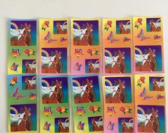 Vintage Lisa Frank, Horses, Stars, Rainbows, Butterflies, 10 Mini Sticker Sheets